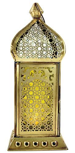 Guru-Shop Orientalische Messing/Glas Laterne in Marrokanischem Design, Windlicht, Gelb, Farbe: Gelb, 25x10x10 cm, Orientalische Laternen