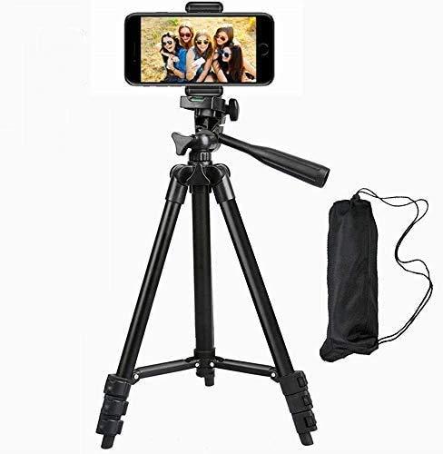 Telefonstativ, 711Lighting 40 Zoll Aluminium Leichtes tragbares Kamerastativ mit Telefonhalter und Tragetasche Wird für iPhone, Android, Windmesser, Entfernungsmesser und Kamera verwendet