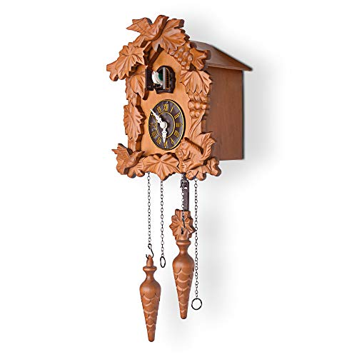Antique Forest Deer Handcrafted Wood Cuckoo Clock Battery Operated Bird Singing