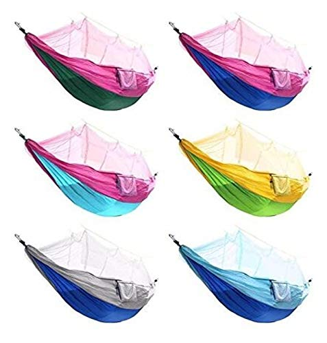 WERTYG Garden Hammock with Mosquito Net,Waterproof Nylon Double Camping Hammock Swing Chair, Tarp Rain Fly Tent Picnic Cloth, with for Hiking Backpacking Travel
