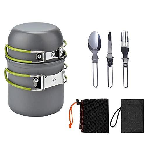 Portable Camping Cookware Set Mess Kit, Backpacking Gear Cooking Equipment, Stackable Portable Non Stick Pot Pan Cook, Fork Spoon Kits for Backpacking, Outdoor Camping Hiking and Picnic