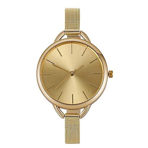 Moda reloj de señoras, reloj de señoras, señora reloj, Delgado, Relojes for mujer, reloj de cuarzo, reloj del color sólido del dial grande de acero inoxidable delgado Cinturón de malla de reloj de cua