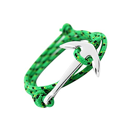 GLANZWEAR Wrap Bracelet with Ship Anchor in Silver Rope Silver Edition, Maritime Ankle Strap for Women and Men, Unisex Bracelet in Many Fashion and Trend Green/Yellow