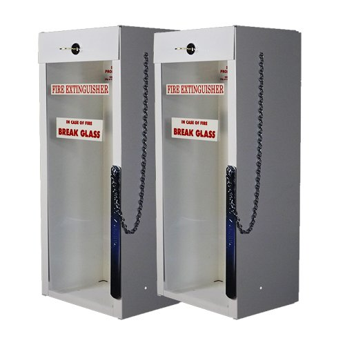 Samson Fire Extinguisher Cabinet with Cylinder Lock and Breaker Bar + 2 - in CASE of FIRE Break Glass, Self-Adhesive 2