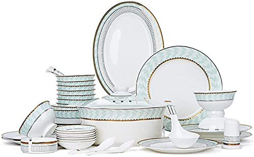 Juego de Platos, Conjunto de vajillas de cerámica con 46 Piezas, tazón/almacén/Plato/Cuchara | Conjunto de Cena de Hueso de China, Conjunto de combinación de Porcelana , Euro Ceramica