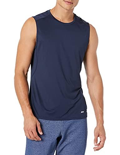 Amazon Essentials Men's Tech Stretch Performance Muscle Shirt, Navy, X-Small