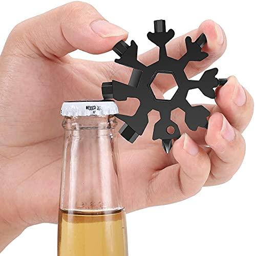 Yohong Edelstahl Schneeflocken Multitool 18-in-1 Schwarz, Multifunktionswerkzeug Sechskantschlüssel für Outdoor-Abent, Innen- und im Freiengelegenheiten (Schwarz)