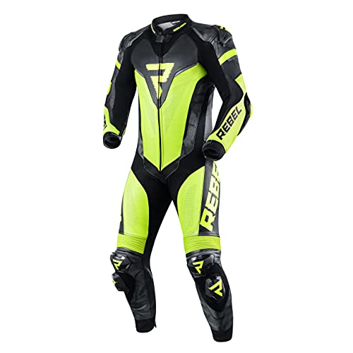REBELHORN Rebel Traje una pieza de moto de cuero para hombre, codo, hombro, espalda, rodilla, cadera y coxis protectores, ventilación, 4 bolsillos, paneles reflectantes