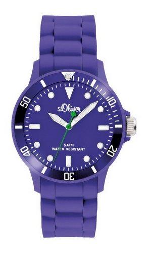 s.Oliver SO-2334-PQ - Reloj para Mujer de Silicona Resistente al Agua Violeta