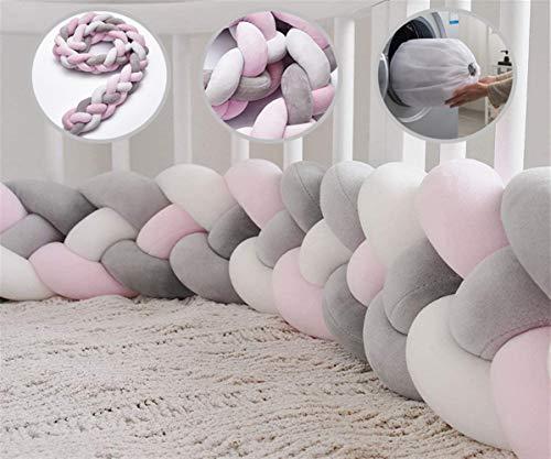 Icegrey Trenza Protector de Cuna 4 Trenzada Bebe Parachoques Cuna Protector de Cabeza para Proteger Bebe y Decorar la Cuna con Bolsa de Lavandería, Rosa + Blanco + Rosa + Gris, 2.2m