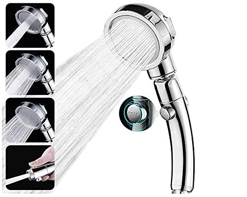 Jeemil, Soffione Doccia Anticalcare 3 Modalità (Silver) Telefono Alta Pressione Per Risparmio Idrico [Classe Energetica A+]