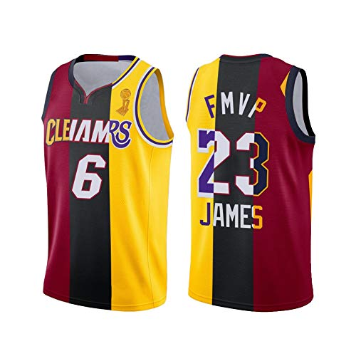 SSDS James FMVP Lakers #23 - Camiseta de baloncesto para hombre, unisex, ropa deportiva, personalización de tela bordada, Swingman Jersey Patchwork Fans Conmemorative Uniform 2XS 2XS