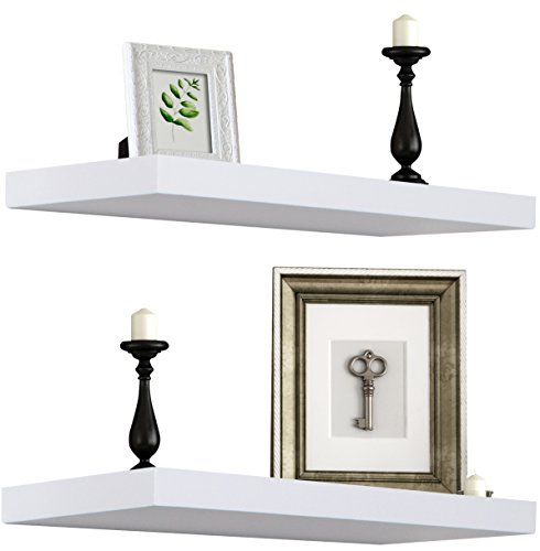 Sorbus Floating Shelf - Hanging Wall Shelves Decoration - Perfect Trophy Display Photo Frames White