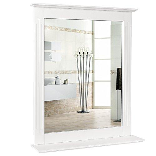 Homfa Specchio da Bagno Specchio Sospeso Specchio Parete con mensola Specchio Arredobagno con Cornice & 1 Ripiani (57 x 68 cm Bianco)