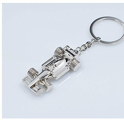 SUNSHINETEK Racing Car Keychain Llavero de Metal para Coche o House Keys Cool Key Ring Gift para Hombres o niños (Plata, Paquete de 2)