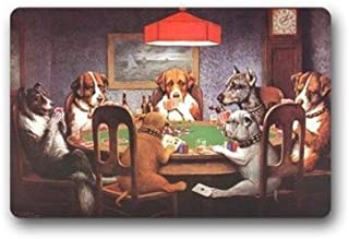 SPXUBZ Dogs Family Playing Poker At Table Welcome Non Slip Entrance Rug Outdoor/Indoor Dirt Buster Durable Waterproof Machine Washable DoorMat Size 18x30 Inch