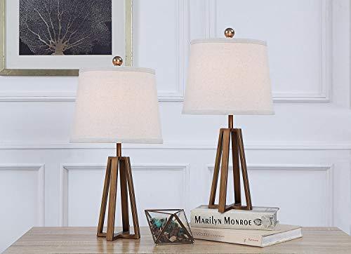SHACOS 2er Set LED Nachttischlampe Retro Metall Tischlampe E27 Fassung Nachttischleuchte Gold Tischleuchte Industrial für Schlafzimmer Wohnzimmer, Büro, usw.