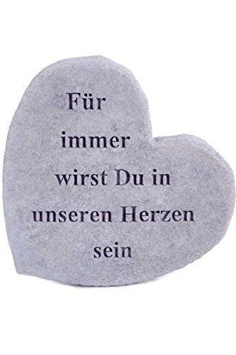Vidroflor Gedenkstein Für Immer wirst Du in unseren Herzen Sein Steinguss 17 x 15 cm Grabschmuck