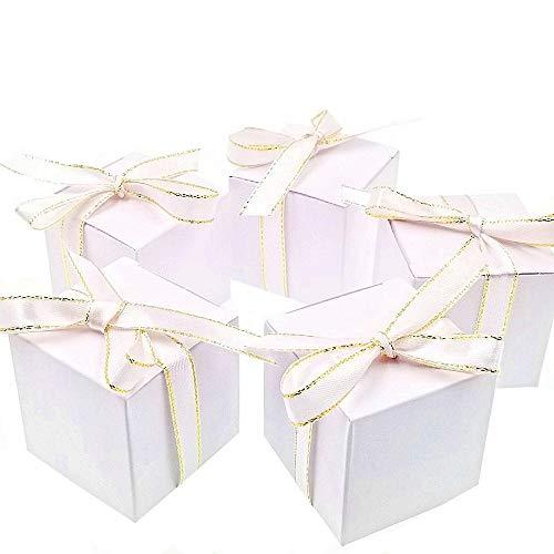 JZK 50 Cubo Bianca Scatola portaconfetti scatolina bomboniera segnaposto portariso per Matrimonio Compleanno Natale Nascita Battesimo