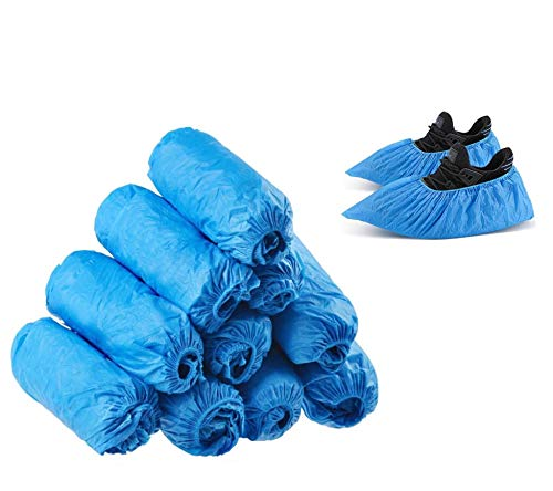 100PACK(50pairs) Disposable Shoe Covers, CPE material Shoe Covers, Thicker, Durable,Waterproof,Dustproof,Booties Covers,Overshoes,Booties,Slip Resistant, for Women men kids,UP to 12 Size-15.7inch