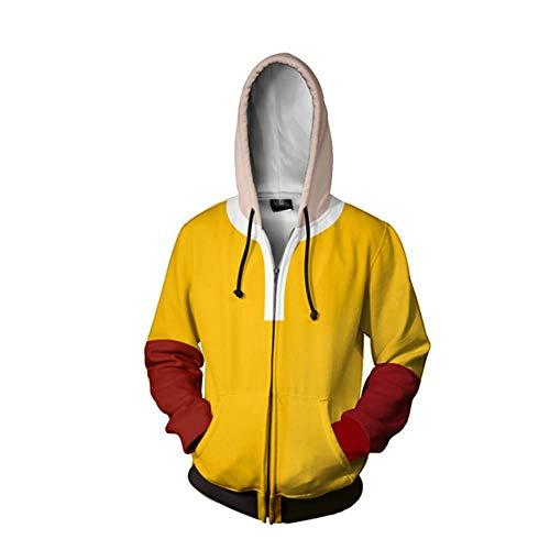 RJHWY 3D Pullover Felpa con Cappuccio Felpa Unisex con Cappuccio in della Maglietta Felpata con Cerniera One Punch-Man XL