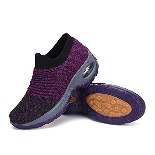 Mishansha Damen Slip on Air Sportschuhe Mesh Walkingschuhe Frauen Schuhe Bequeme Laufschuhe Outdoor Turnschuhe Joggen Atmungsaktive Freizeitschuhe Fitnessschuhe Violett A, Gr.41 EU