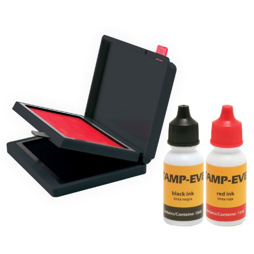 Stamp-Ever Two Color Pad/Refill Ink, Pads Measure 2-3/8 x 4 Inches Each, Two 15ml Bottles of Refill Ink, Black/Red (6193)