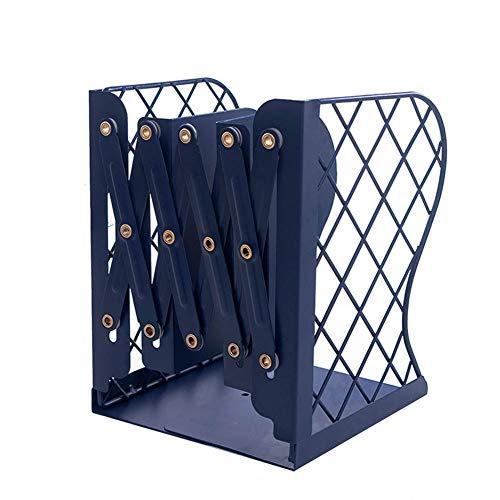 Demarkt - Sujetalibros de metal hueco en el escritorio en biblioteca, escuela, oficina, hogar, librería, carpeta ajustable fácil de deslizar 15 * 10 * 19cm azul