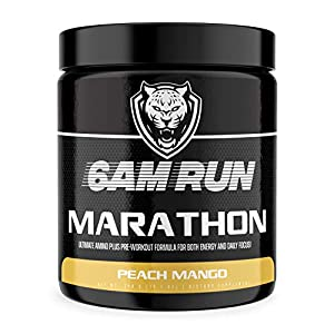 6AM RUN Marathon Run - Pre Workout Powder for Running & Essential Amino Energy Powder - Pre Workout No Jitters - Keto Pre Workout Powder - Vegan Pre Workout Powder - Peach Mango - 40 Scoops