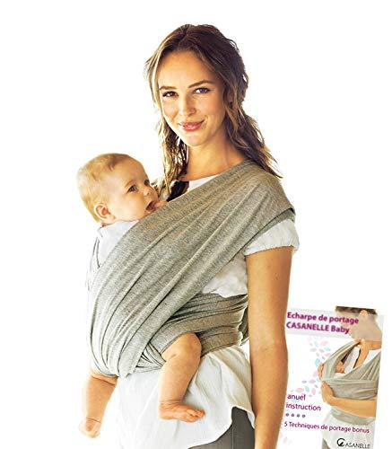 Echarpe de portage bebe | porte bebe gris léger ★Offert livre ebook tutos : 5 techniques de portages★ Gardez les mains libres et votre nourrisson contre vous ♡♡