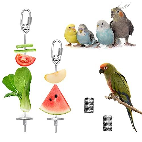 Mngren 2Pcs Bird Food Holder, Stainless Steel Bird Feeder Toy, Small Animal...