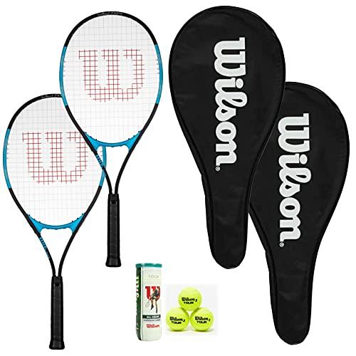 Wilson Ultra Excel 112 - Juego de 2 raquetas de tenis (2 fundas de raqueta de longitud completa y 3 pelotas de tenis