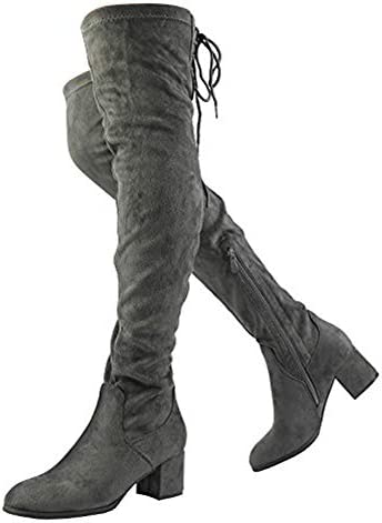 DREAM PAIRS Women s Laurence Grey Over The Knee Thigh High Chunky Heel Boots Size 8 5 M US product image
