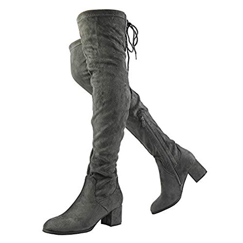 DREAM PAIRS Women's Laurence Grey Over The Knee Thigh High Chunky Heel Boots Size 6.5 M US