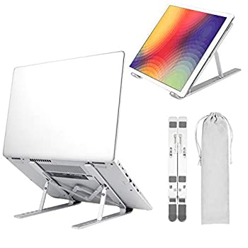 Portable Laptop Stand Portable Slim Desktop Notebook Holder Folding Perfect for Business Reisen Compatible for MacBook Pro Air Chromebook and More  Silver