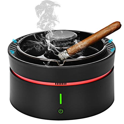 JINSERTA Smokeless Ashtray, Smoke Grabber Ashtray Odor Eliminator Air Detector Purifier with LED Battery Indicator Rechargeable for Home, Office,Car (Black)