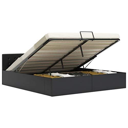 vidaXL Cama Canapé Hidráulica Cuero Sintético Mobiliario Hogar Decoración Interior Resistente Robusta Duradera Práctica Cómoda Útil Negro 160x200cm