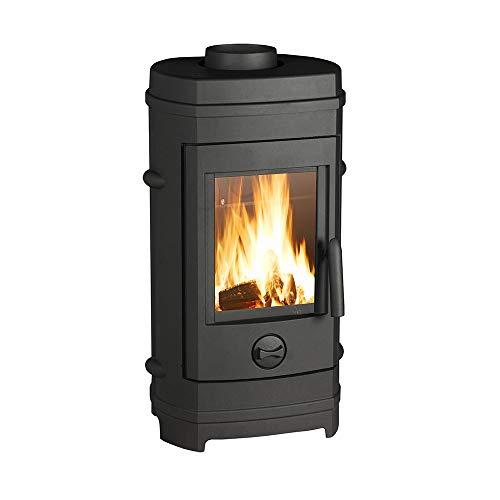 Invicta Poêle à bois en Fonte Remilly Noir - 7 kW - Surface de Chauffe 40 à 85 m² - Flamme Verte 7 étoiles