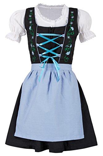 MS-Trachten 3 teiliges Kinder Dirndl Trachtenkleid Steffi (152, hellblau)