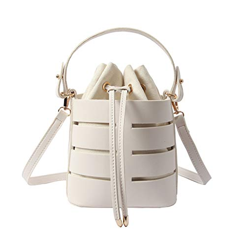 Learn More About Ladies Hollow Multi-Layer Bucket Bag Linen Lined Multi-Function Handbag Rope Openin...