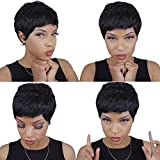 27 Piece Quick Weave Human Hair Short with Free Closure, Black Hair Brazilian Virgin Hair Extension Short Bump Weave for Women #1b (3/4/5 Inch)