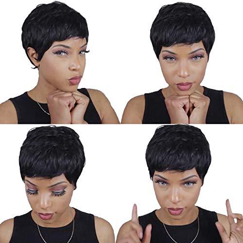 27 Piece Quick Weave Human Hair Short with Free Closure, Black Brazilian Virgin Hair Extension Short Bump Weave for Women #1b (3/4/5 Inch)