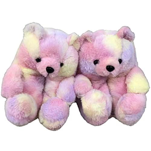 XMxx Zapatillas de peluche para el hogar, unisex, de piel sintética de animales lindos, suaves y suaves y cálidos, para invierno, color rosa