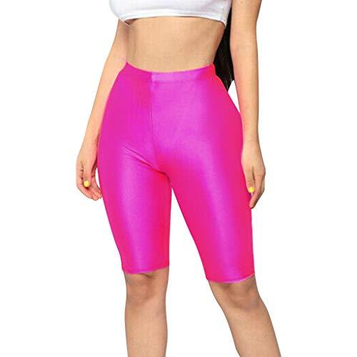 Xmiral Shorts Damen Sport Yoga Leggings mit Hoher Taille Elastisch Bonbonfarbe Training Fitness Sweatshorts(Rosa Rot,M)