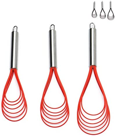 Flat Whisk Set Stainless Steel 3 Pack 10 11 12 Premium Sturdy 6 Silicone Heads Non Stick Wires product image