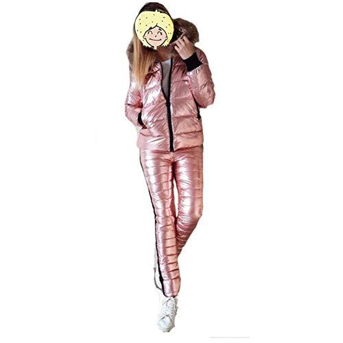 BAACHANG Schnee Jacket + Pants Helles Leder Frauen Skianzug Winter-Dicke Pelzkragen mit Kapuze Jacke im Freien Winter-starken warmen Skibekleidung (Farbe : Rosa, Size : M)