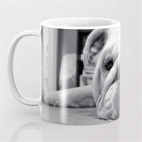 Taza de café con fotografía de bulldog inglés en blanco y negro