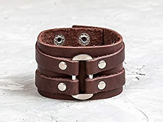 Leather Life 910, Oval Leather Bracelet, Brown Wide Cuff, Gothic Bangle, Men Women Wristband Arm Wrap Bracelet Unisex Engrave Jewelry Rock Cuff 3132br