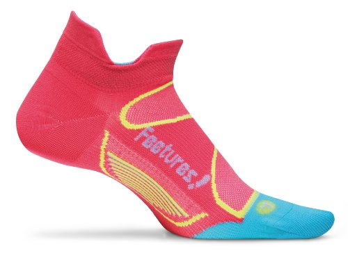 Feetures Elite Ultra Light No Show Tab, Hot Coral/Sky Blue/Bright Orange , S