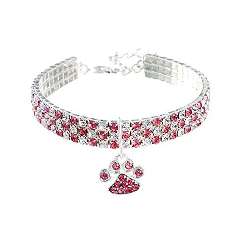 Flashing Collar de huellas de gatos, collar hecho por el hombre, collar para mascotas, collar elástico de color mixto, collar de joyería para perros (color: rosa, tamaño: 20 cm + 5 cm)